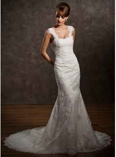 Mermaid Sweetheart Chapel Train Satin Tulle Wedding Dress With Lace Beadwork (002011449)