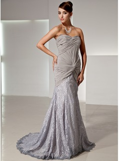 Mermaid Sweetheart Court Train Chiffon Lace Evening Dress With Ruffle (017014446)