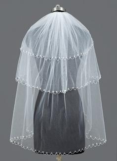 Tres capas Yema del dedo velos de novia con Con abalorios
