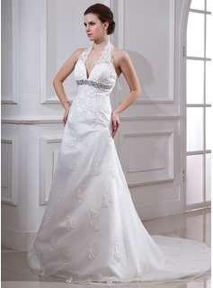A-Line/Princess Halter Court Train Organza Satin Wedding Dress With Lace Beading