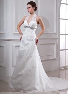 Corte A/Princesa Cabestro Tren de la corte Organdí Satén Vestido de novia con Encaje Bordado