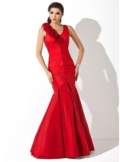 Mermaid V-neck Floor-Length Taffeta Evening Dress With Ruffle Flower(s) (017002546)