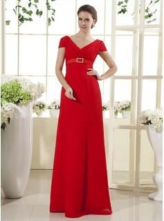 A-Line/Princess V-neck Floor-Length Chiffon Mother of the Bride Dress With Ruffle Sash (008015435)