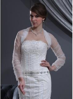 Jackets/Wraps Wedding Tulle Ruffles Wraps With Long Sleeve (013022587)