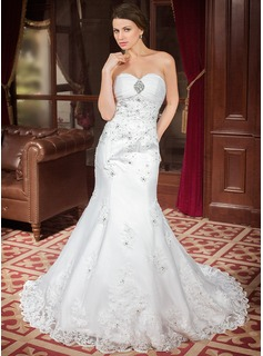Trumpet/Mermaid Sweetheart Chapel Train Organza Satin Wedding Dress With Ruffle Lace Beading Sequins