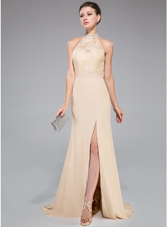Trumpet/Mermaid High Neck Sweep Train Chiffon Lace Evening Dress With Ruffle Beading Sequins Split Front