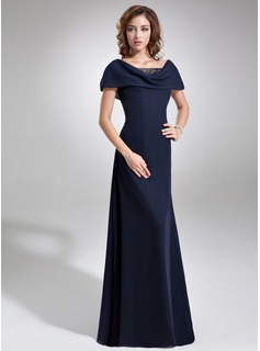 A-Line/Princess Cowl Neck Floor-Length Chiffon Tulle Mother of the Bride Dress With Ruffle Beading Sequins