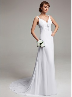 A-Line/Princess V-neck Court Train Chiffon Wedding Dress With Ruffle Beadwork (002012150)
