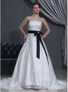 A-Line/Princess Strapless Chapel Train Satin Lace Wedding Dress With Sash Beading Crystal Brooch Bow(s)