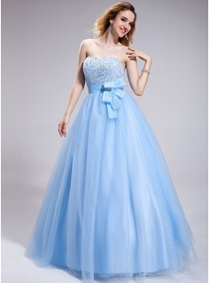 Ball-Gown Sweetheart Floor-Length Organza Tulle Prom Dress With Beading Sequins