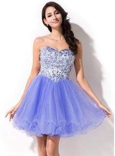 A-Line/Princess Sweetheart Short/Mini Tulle Prom Dress With Beading