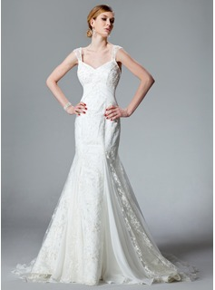 Trumpet/Mermaid V-neck Chapel Train Chiffon Lace Wedding Dress With Ruffle