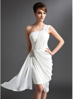 Sheath One-Shoulder Asymmetrical Chiffon Cocktail Dress With Ruffle Beading