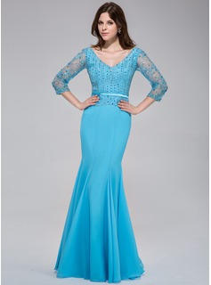 Trumpet/Mermaid V-neck Floor-Length Chiffon Tulle Charmeuse Evening Dress With Lace Beading Sequins