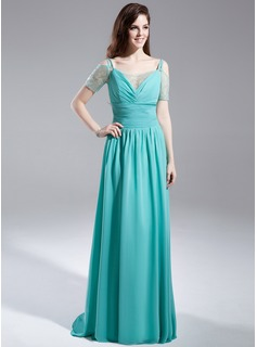 A-Line/Princess Off-the-Shoulder Sweep Train Chiffon Organza Prom Dress With Ruffle Beading (018015896)