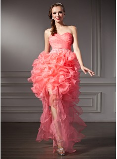 A-Line/Princess Sweetheart Asymmetrical Organza Prom Dress With Beading Cascading Ruffles