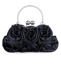 Black Gorgeous Silk Evening Handbags/ Clutches/ Top Handle Bags/ Wristlets  (012005435)