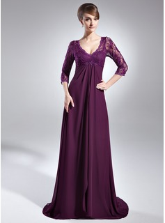 Empire V-neck Sweep Train Chiffon Charmeuse Lace Mother of the Bride Dress With Beading (008006147)