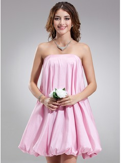 A-Line/Princess Strapless Short/Mini Taffeta Bridesmaid Dress