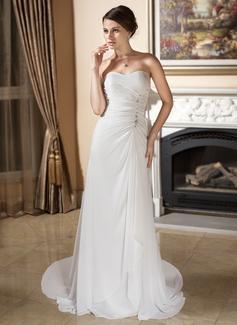 Sheath/Column Sweetheart Court Train Chiffon Wedding Dress With Ruffle Beading