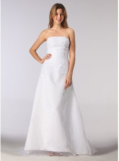 A-Line/Princess Strapless Court Train Organza Satin Wedding Dress With Ruffle Beading
