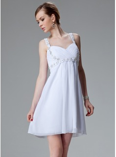Empire Sweetheart Short/Mini Chiffon Taffeta Homecoming Dress With Ruffle Beading Sequins (022020769)