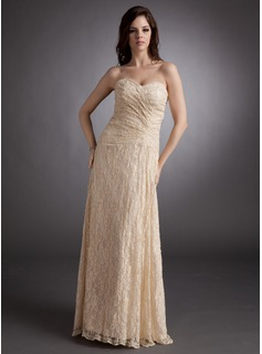 A-Line/Princess Sweetheart Floor-Length Lace Bridesmaid Dress With Ruffle (007001128)
