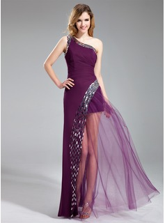 A-Line/Princess One-Shoulder Floor-Length Chiffon Tulle Prom Dress With Sequins