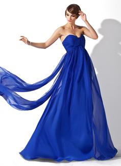 Empire Sweetheart Watteau Train Chiffon Evening Dress With Ruffle