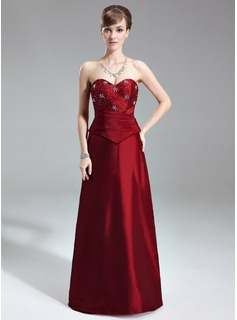 A-Line/Princess Sweetheart Floor-Length Taffeta Bridesmaid Dress With Ruffle Beading