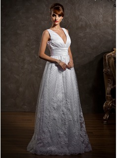 A-Line/Princess V-neck Floor-Length Satin Tulle Wedding Dress With Lace (002012597)