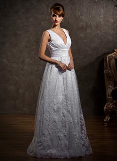 Corte A/Princesa Escote en V Hasta el suelo Tul Vestido de novia con Encaje