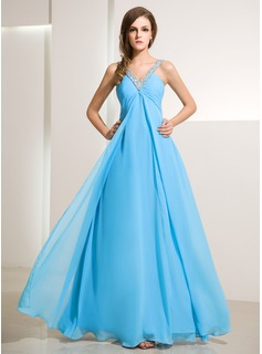 Empire V-neck Floor-Length Chiffon Holiday Dress With Ruffle Beading
