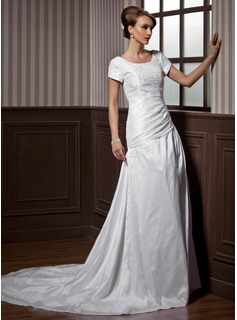 A-Line/Princess Scoop Neck Chapel Train Taffeta Wedding Dress With Ruffle Lace Beadwork (002012077)