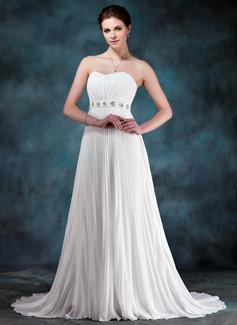 Corte imperial Escote corazón Cola corte Chifón Vestido de novia con Bordado Lentejuelas Plisado