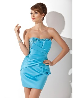Sheath/Column Sweetheart Short/Mini Satin Cocktail Dress With Ruffle Beading