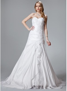 A-Line/Princess Sweetheart Court Train Taffeta Lace Wedding Dress With Ruffle Lace Beadwork (002000455)