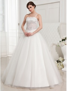 Ball-Gown Sweetheart Floor-Length Satin Tulle Wedding Dress With Lace Beadwork (002000409)