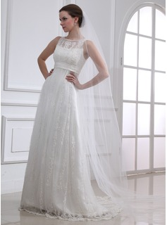 A-Line/Princess Scoop Neck Court Train Satin Tulle Wedding Dress With Lace Beadwork (002004543)