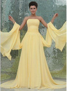 A-Line/Princess Strapless Watteau Train Chiffon Prom Dress With Ruffle Beading (018017405)