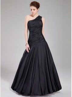 Mermaid One-Shoulder Floor-Length Taffeta Prom Dress With Ruffle