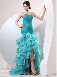 Mermaid Sweetheart Asymmetrical Organza Prom Dress With Ruffle Beading