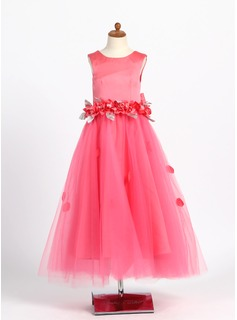 A-Line/Princess Scoop Neck Ankle-Length Satin Tulle Flower Girl Dress With Beading Flower(s)