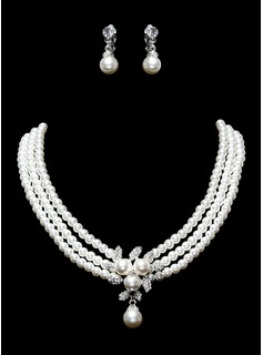 Ivory Pearl Two Piece Mini Heart Ladies Necklace and Earrings Jewelry Set (011016322)