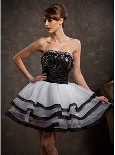 A-Line/Princess Strapless Short/Mini Organza Satin Sequined Homecoming Dress With Beading Cascading Ruffles