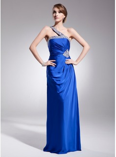Sheath One-Shoulder Sweep Train Charmeuse Evening Dress With Ruffle Beading Sequins (017014559)