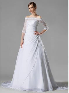 A-Line/Princess Off-the-Shoulder Chapel Train Chiffon Lace Wedding Dress With Embroidery Ruffle Beadwork Sequins (002005194)
