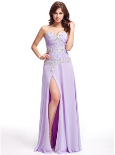 A-Line/Princess Sweetheart Floor-Length Chiffon Evening Dress With Ruffle Lace Beading
