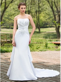 Mermaid Sweetheart Chapel Train Satin Wedding Dress With Ruffle Beadwork Sequins (002024691)