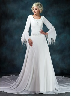 A-Line/Princess Scoop Neck Chapel Train Chiffon Wedding Dress With Ruffle Beadwork (002012145)